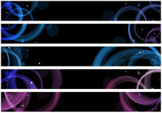 Abstract circles web banner. Abstract colorful circles web banners. Size 728x90 px Stock Images