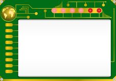 Abstract circuit board. With blank display, red fire and globe Royalty Free Stock Photo