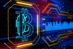 Circuit board bitcoin. Abstract circuit board bitcoin on technology background. 3D render royalty free illustration