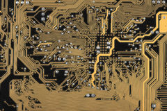 Abstract circuit board dark background Stock Photo