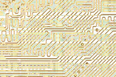 Abstract circuit board golden texture Stock Photography