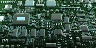 Abstract circuit board or mainboard. Top view. Stock Photography