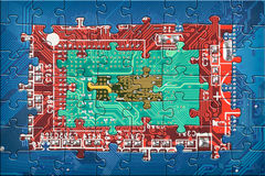 Abstract circuit board puzzle background Stock Photography