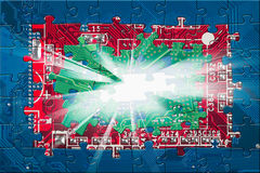 Abstract circuit board puzzle background Stock Photos