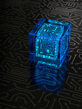 Abstract Circuit Cube. Abstract cube on dark background. Technology concept stock image