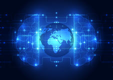 Abstract circuit digital brain, global technology concept vector Royalty Free Stock Photo