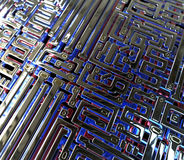 Abstract circuit inside microchip Royalty Free Stock Photo