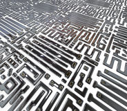 Abstract circuit inside microchip Royalty Free Stock Image