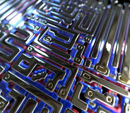 Abstract circuit inside microchip Royalty Free Stock Photos