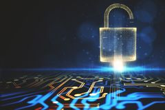 Abstract circuit padlock backdrop. Abstract glowing digital padlock circuit backdrop. Web safety and protection concept. 3D Rendering Stock Photo