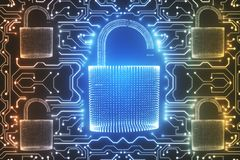 Abstract circuit padlock wallpaper. Abstract glowing digital padlock circuit wallpaper. Web safety and protection concept. 3D Rendering Stock Photography