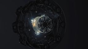 Abstract circular background loop of steel and light for motion graphic. Animation rotation of radial steel. Abstract vector illustration