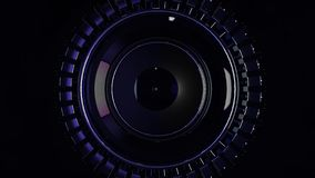 Abstract circular background loop of steel and light for motion graphic. Animation rotation of radial steel. Abstract stock illustration
