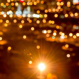 Abstract circular bokeh background, city lights in the twilight. With streetlight, closeup Vector Illustration