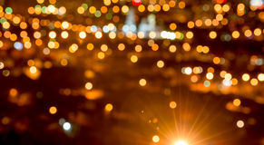 Abstract circular bokeh background, city lights in the twilight Stock Image