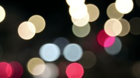 Abstract circular bokeh background of night city lights stock video footage