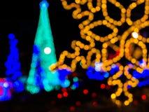 Abstract circular bokeh of Christmas light. In city Stock Photography