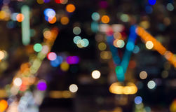Abstract circular bokeh of cityscape at twilight time Stock Images
