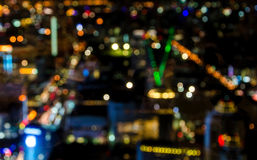 Abstract circular bokeh of cityscape at twilight time Stock Image
