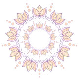 Abstract circular frame with lotuses. Isolated purple-yellow circular frame with lotuses Stock Image