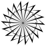 Abstract circular geometric element with radial lines. Distorted radiating abstract shape. Monochrome decorative element. Royalty free vector illustrationn royalty free illustration