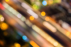 Abstract circular of Light cars bokeh in city at night Stock Photo