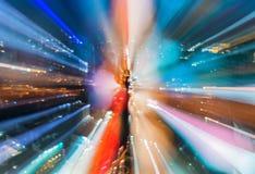 Abstract circular of Light cars bokeh in city at night Stock Photos