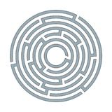 Abstract circular maze labyrinth with an entry and an exit A flat illustration on a white background A puzzle for logical thinking stock illustration