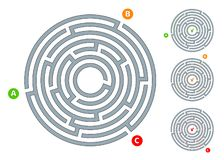 Abstract circular maze labyrinth with an entry and an exit A flat illustration on a white background A puzzle for logical thinking. Abstract circular maze royalty free illustration