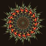 Abstract circular pattern apple-tree. Vector illustration Royalty Free Stock Photo