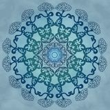 Abstract circular pattern. With floral ornaments on blue background Stock Illustration