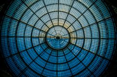 Circular symmetry of the glass dome in Milan royalty free stock photos