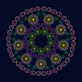 Abstract Circular Patterns Green, Red, Purple, Yellow On Dark Background stock illustration
