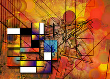 Abstract. Of circular and rectangular forms and line Royalty Free Stock Photo