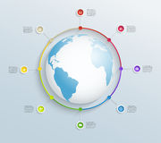 Abstract circular timeline with world map and business icons Stock Photography