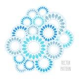 Abstract cirkel vectorpatroon, blauw en wit ornament Stock Afbeelding