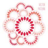 Abstract cirkel vectorpatroon, rood roze oranje en wit dalingenornament Royalty-vrije Stock Foto