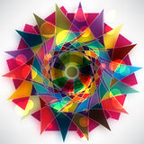 Abstract cirkelpatroon van heldere multi-colored driehoeken Stock Illustratie
