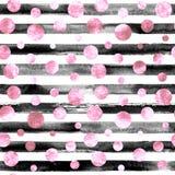 Abstract cirkels en strepen naadloos patroon Stock Afbeelding