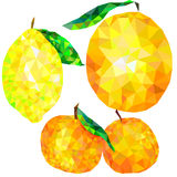 Abstract citrus triangles isolated on white background, tangerine, orange, lemon Royalty Free Stock Image