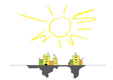 Abstract city. Illustration of abstract city under big sun, cartoon Royalty Free Stock Image