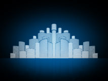Abstract city. Abstract blue background  city in dark Stock Image