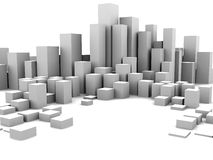 Abstract city. Abstract 3d illustration of white boxes background royalty free illustration