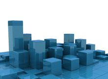 Abstract city. Blocks in blue on white background Royalty Free Stock Image