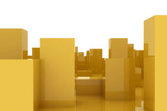 Abstract city. Golden blocks in an abstract city Stock Images