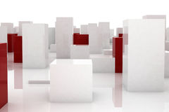 Abstract city. Abstract red blocks among similar white ones Stock Photo