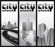 Abstract city admission ticket - set. Vertical banners - futuristic modern cities in different composition Stock Images