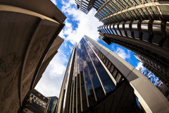 Abstract City Architecture, London. Urban City landscape using a fisheye lens, London Royalty Free Stock Image