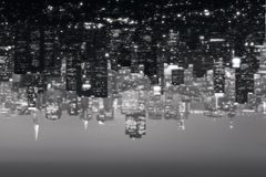 Abstract city background. Abstract blurry upside down black and white city background Stock Photo