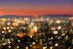 Abstract City blurred in twilight time for background. Stock Image